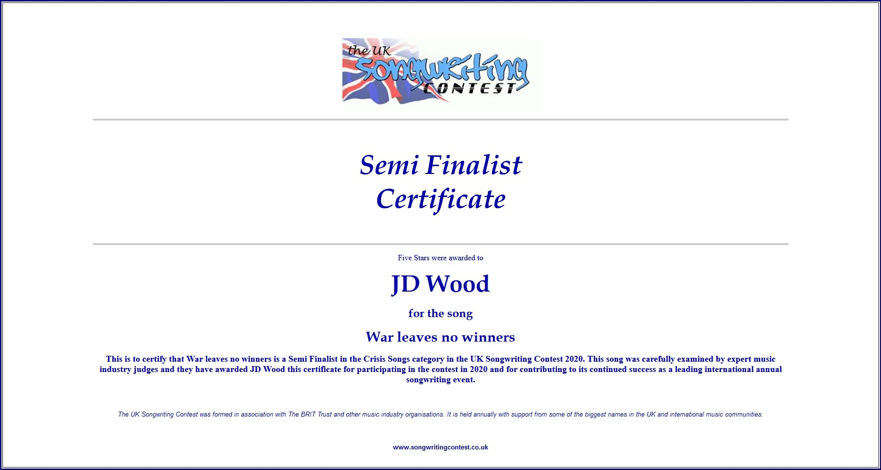 Halbfinalist Jörg Dewald (JD Wood) im Dezember 2020 beim UK Songwriting Contest 2020