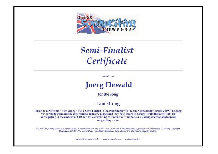 JD Wood (Jörg Dewald) Halb Finalist beim UK Songwriting Contest 2009