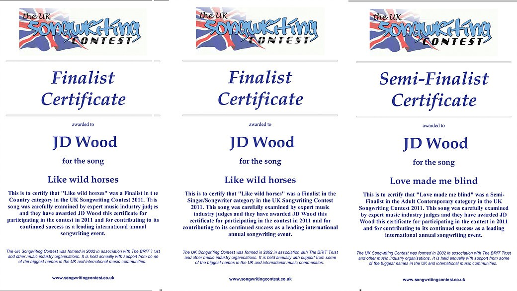 JD Wood (Jörg Dewald) mit 2 Songs Finalist beim UK Songwriting Contest 2011