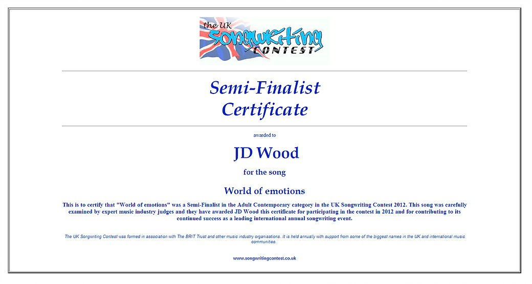 JD Wood (Jörg Dewald) Halb Finalist beim UK Songwriting Contest 2012