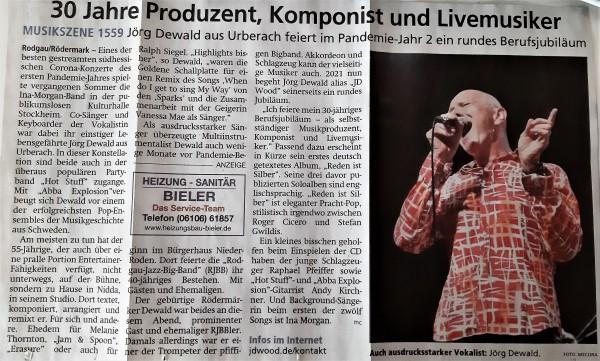 Offenbach Post:  30 Jahre Produzent Komponist und Livemusiker Jörg Dewald