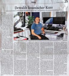 """Jd Wood Jörg Dewald Pressebericht Kreisanzeiger vom 17.07.2021  - """"Dewalds kosmischer Kuss"""""""