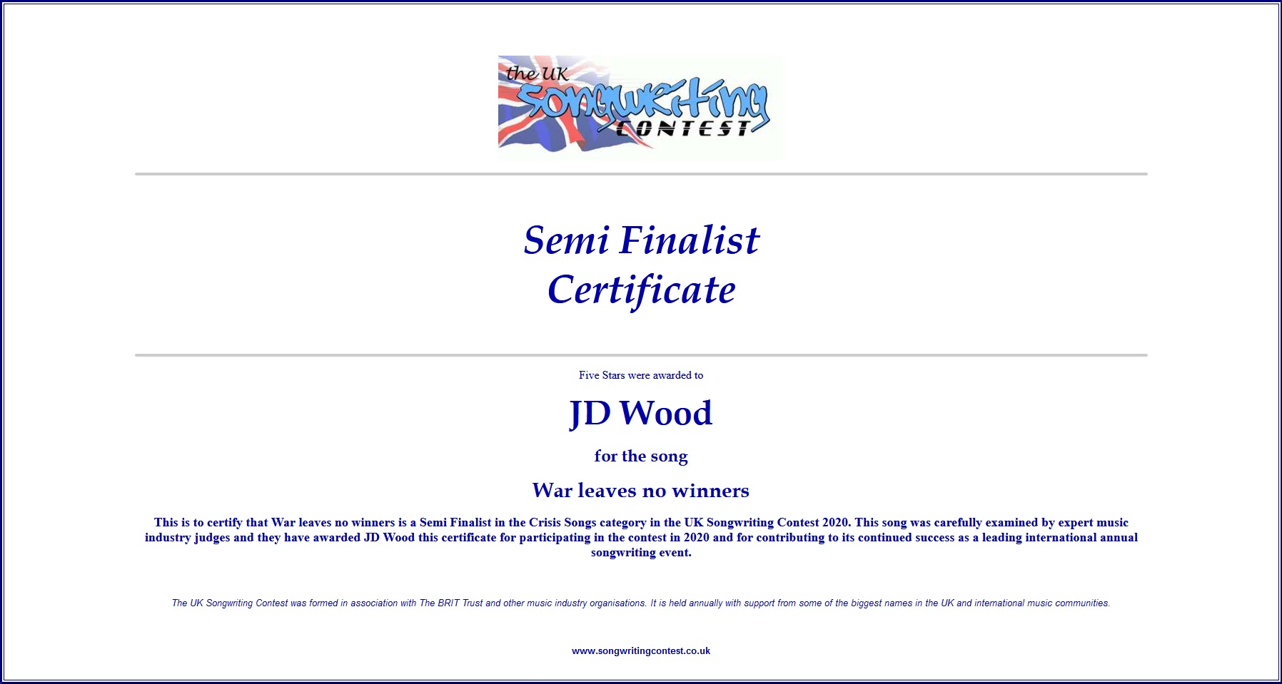 JDWood-Semi-Finalist-UK-Songwriting-Contest2020
